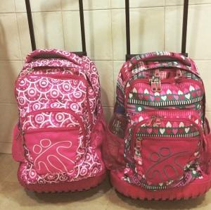 Sus mochilas. Más pequeñas no les servirían, de la cantidad de libros que van y vienen cada día