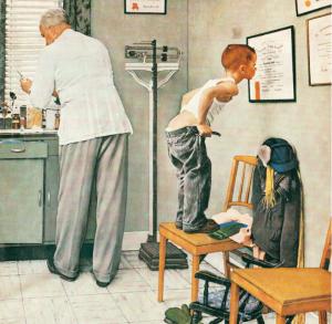 """""""Before the shot"""", Norman Rockwell (1958). Campaña de vacunación masiva contra la polio."""