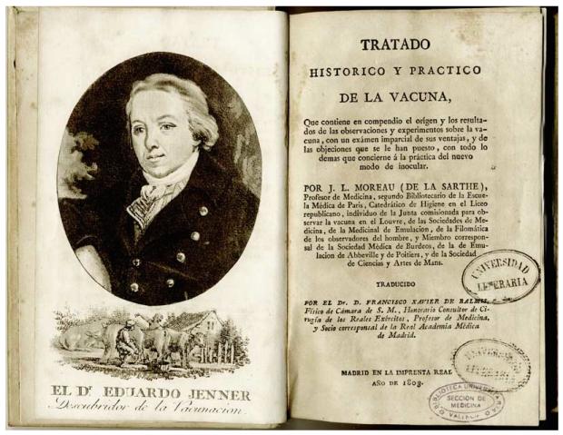 Grabado de Edward Jenner incluido en la traducción por Balmis del tratado de Moreau de la Sarthe. Obtenido de http://hicido.uv.es/Expo_medicina/Ilustracion/vacuna.html